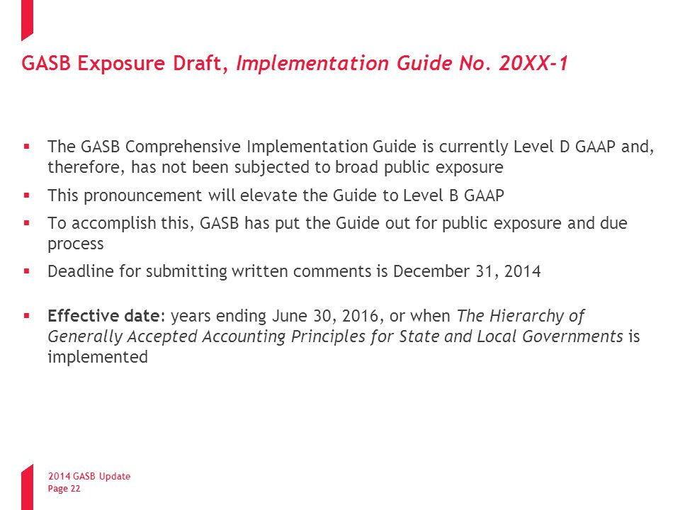 GASB Exposure Draft, Implementation Guide No. 20XX-1