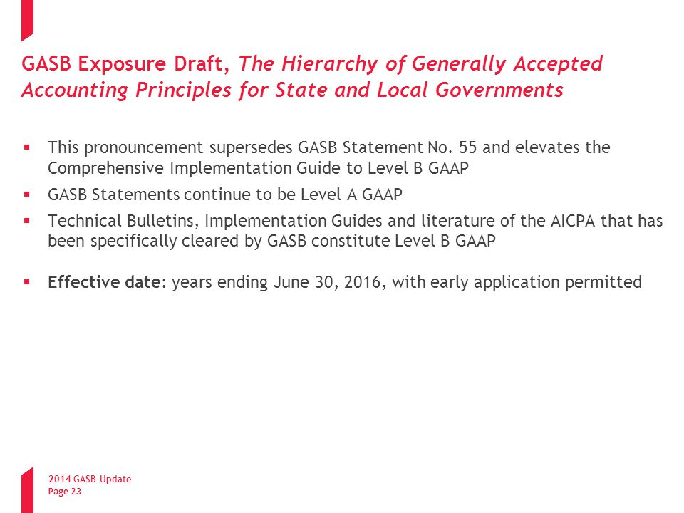 GASB Exposure Draft, The Hierarchy of Generally Accepted Accounting Principles for State and Local Governments