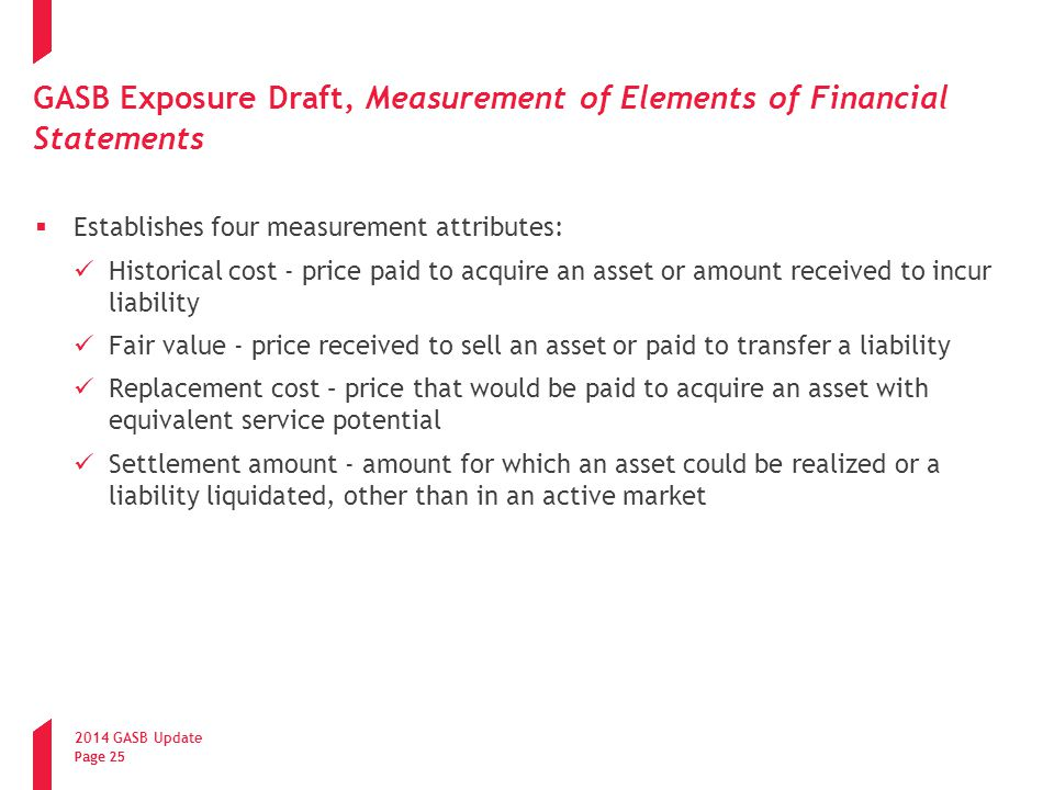GASB Exposure Draft, Measurement of Elements of Financial Statements