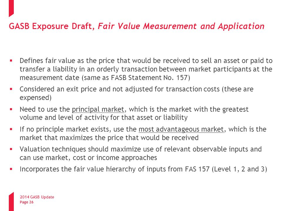 GASB Exposure Draft, Fair Value Measurement and Application