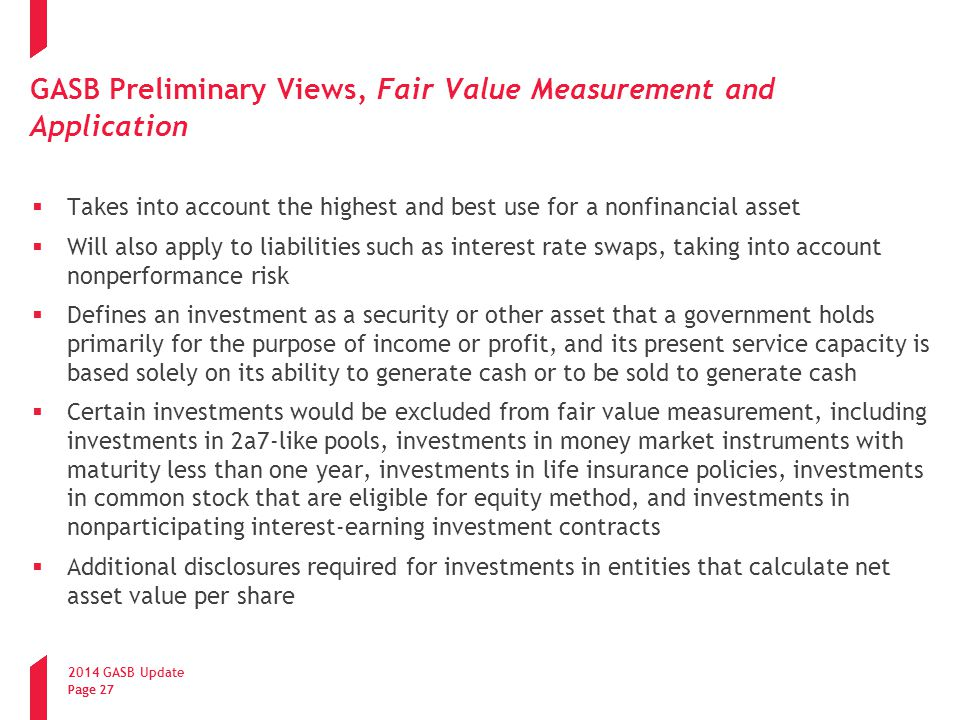 GASB Preliminary Views, Fair Value Measurement and Application