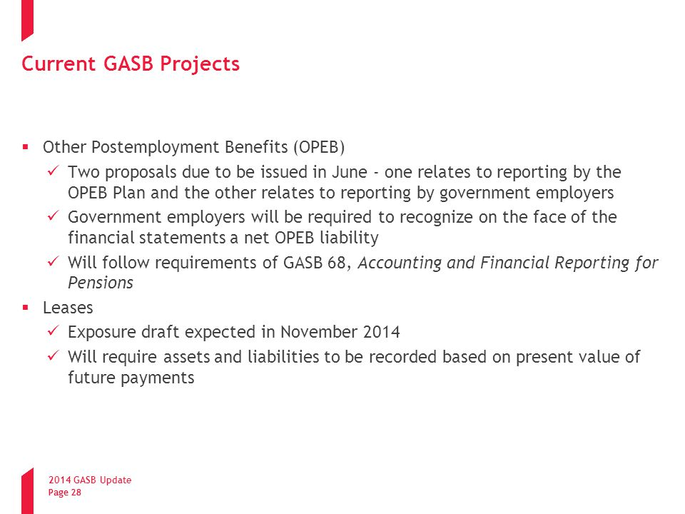 Current GASB Projects Other Postemployment Benefits (OPEB)