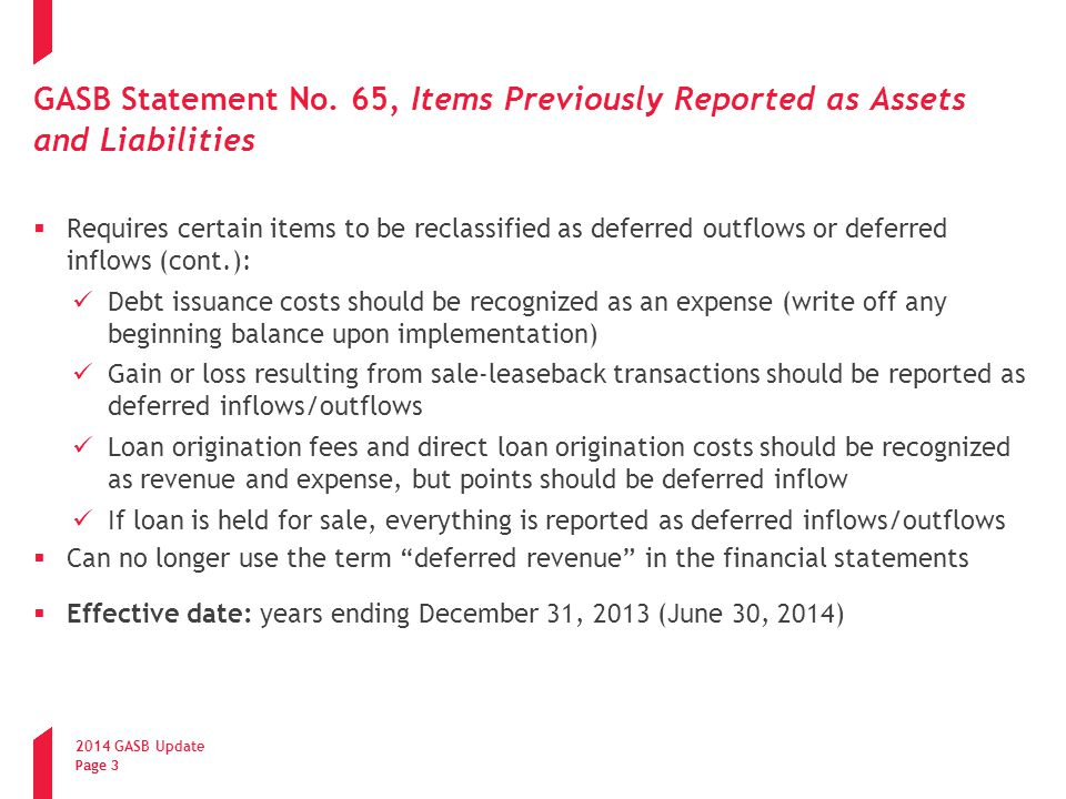 GASB Statement No. 65, Items Previously Reported as Assets and Liabilities