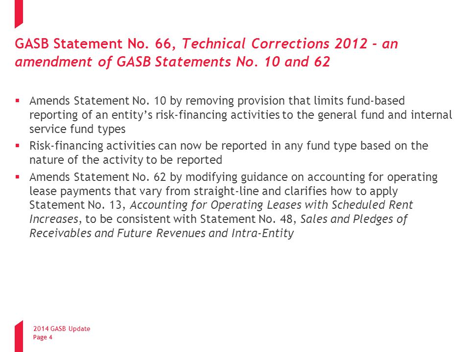 GASB Statement No. 66, Technical Corrections 2012 - an amendment of GASB Statements No. 10 and 62