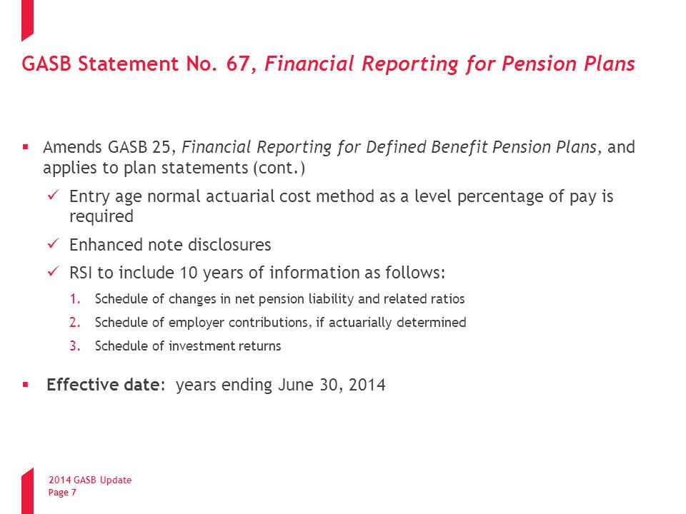GASB Statement No. 67, Financial Reporting for Pension Plans