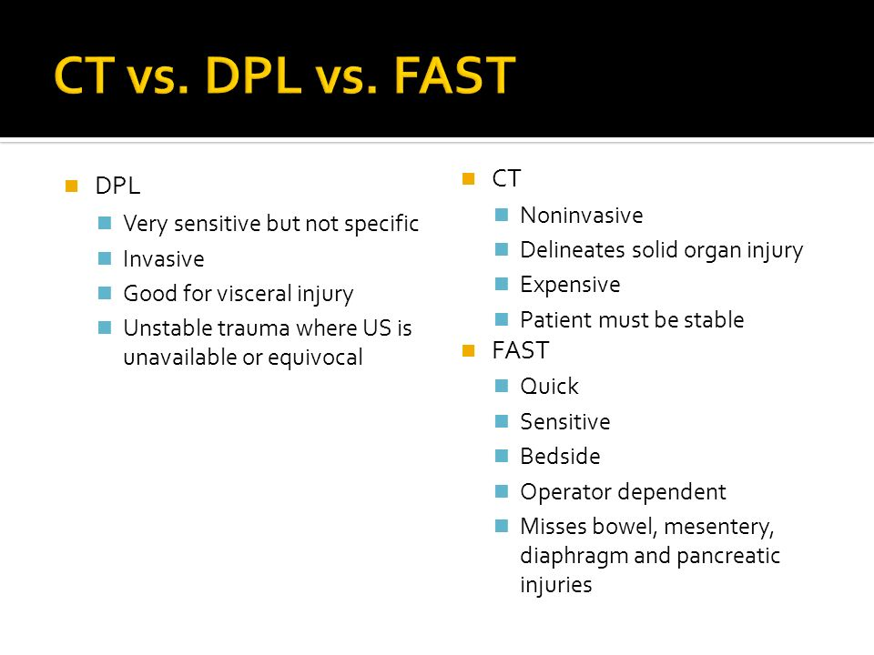 CT vs. DPL vs. FAST DPL CT FAST Noninvasive
