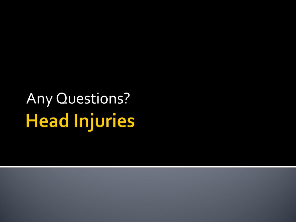 Any Questions Head Injuries