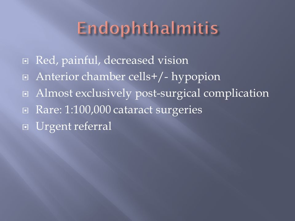 Endophthalmitis Red, painful, decreased vision