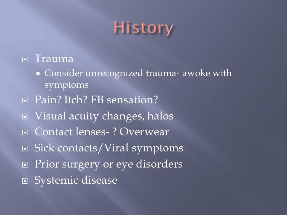 History Trauma Pain Itch FB sensation Visual acuity changes, halos