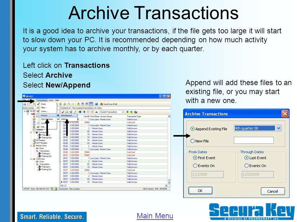 Archive Transactions