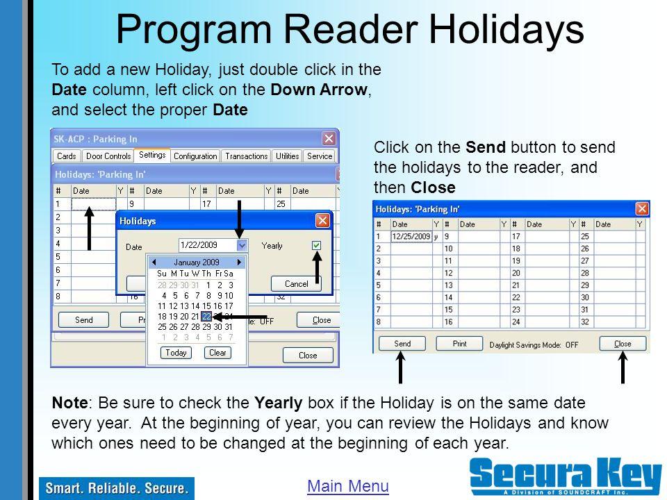 Program Reader Holidays