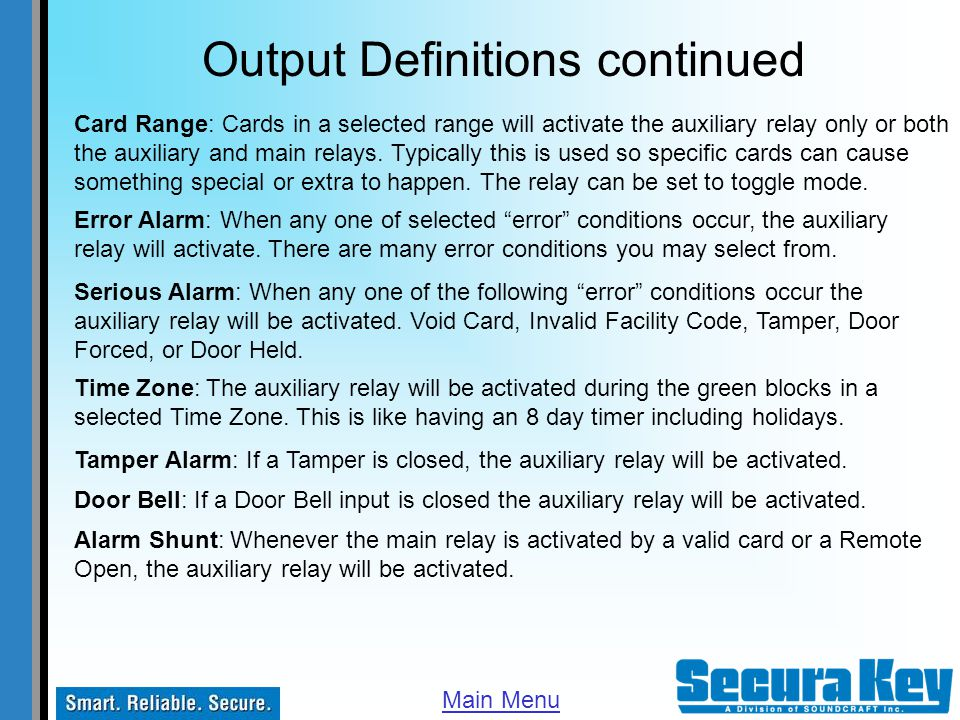 Output Definitions continued