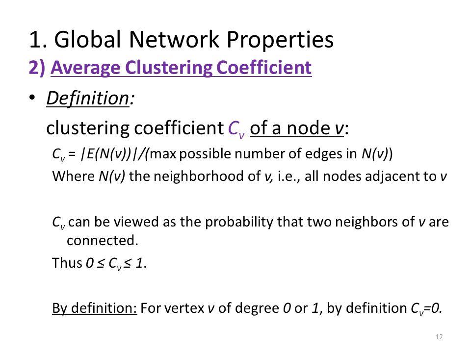 1. Global Network Properties 2) Average Clustering Coefficient