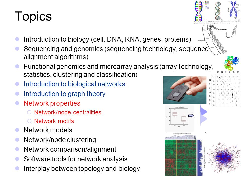 Topics Introduction to biology (cell, DNA, RNA, genes, proteins)