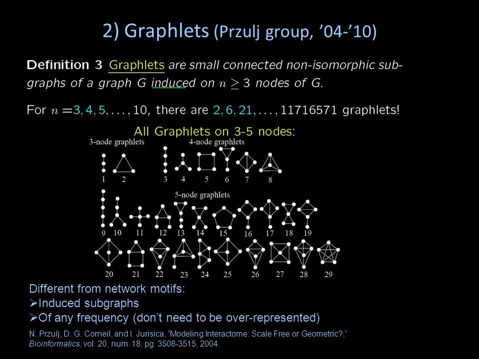 2) Graphlets (Przulj group, '04-'10)