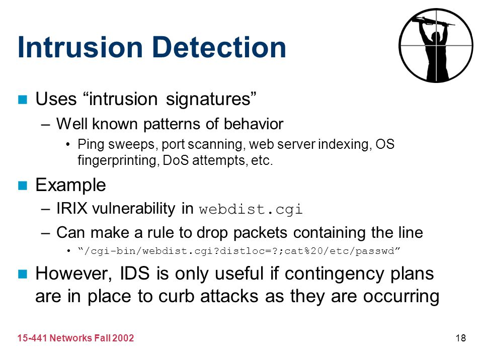 Intrusion Detection Uses intrusion signatures Example