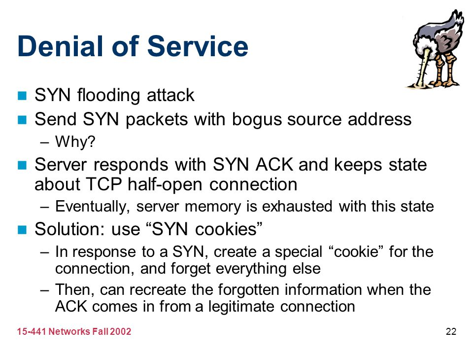 Denial of Service SYN flooding attack