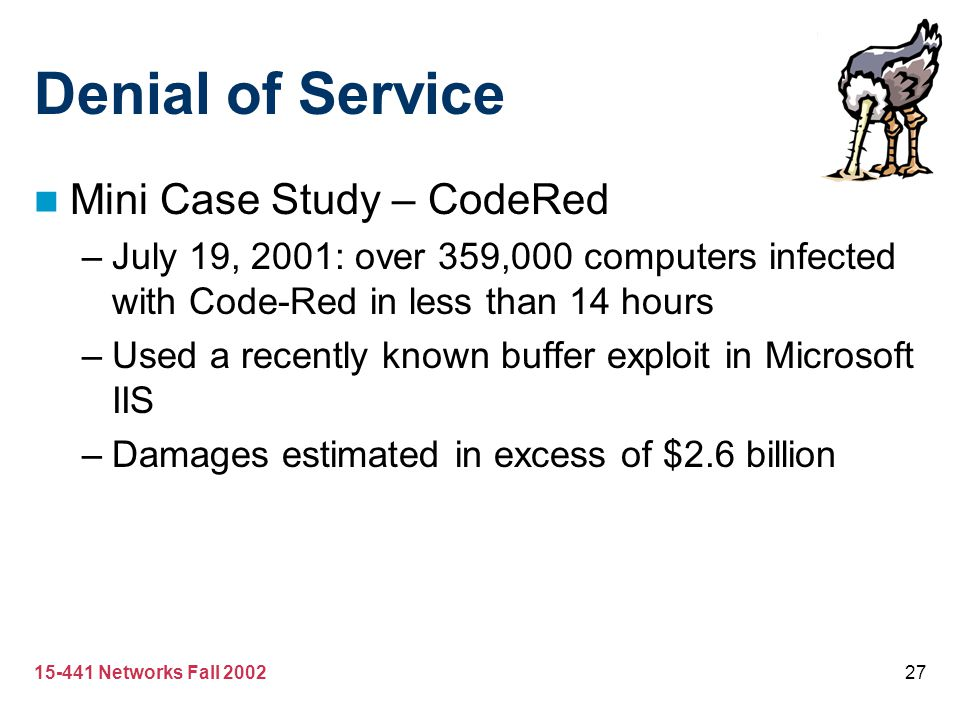 Denial of Service Mini Case Study – CodeRed
