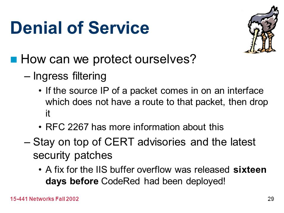 Denial of Service How can we protect ourselves Ingress filtering