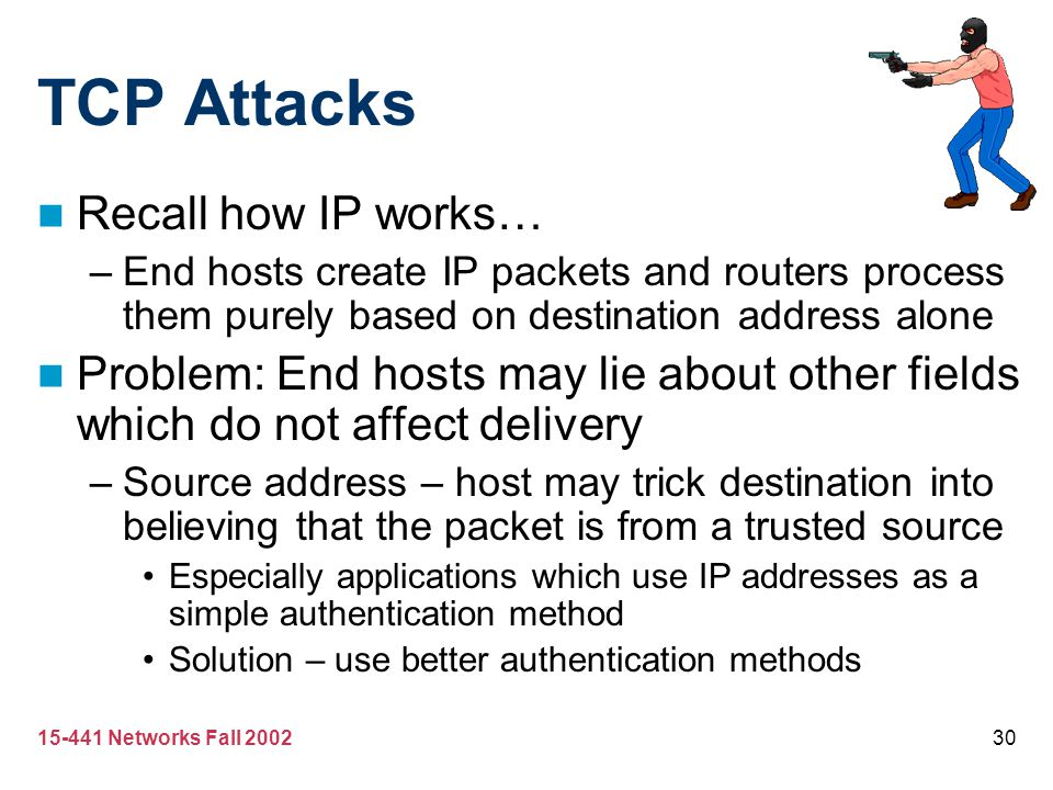 TCP Attacks Recall how IP works…