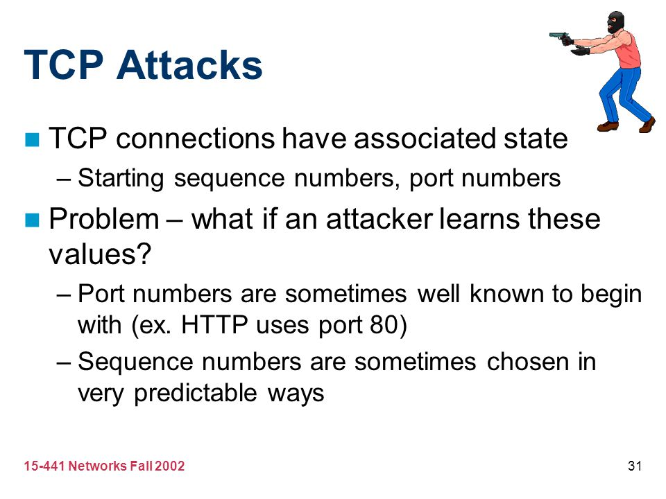 TCP Attacks TCP connections have associated state