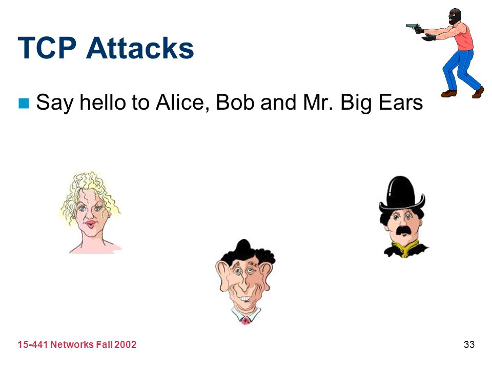 TCP Attacks Say hello to Alice, Bob and Mr. Big Ears