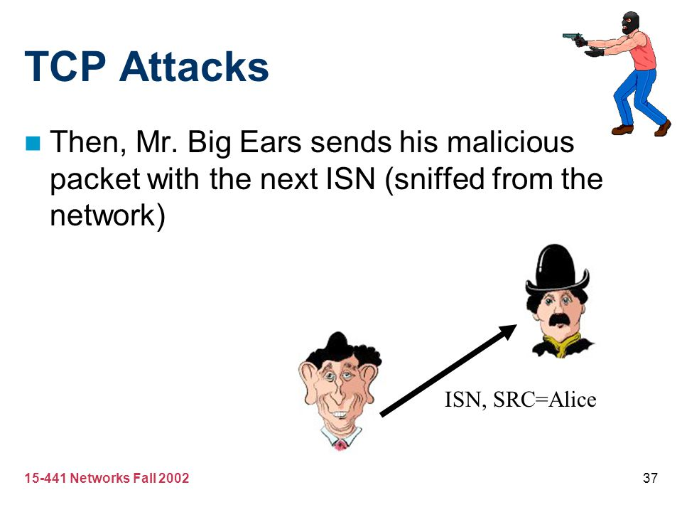 TCP Attacks Then, Mr. Big Ears sends his malicious packet with the next ISN (sniffed from the network)