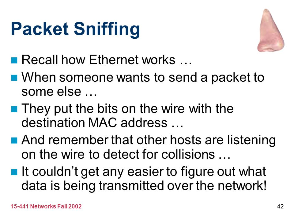 Packet Sniffing Recall how Ethernet works …