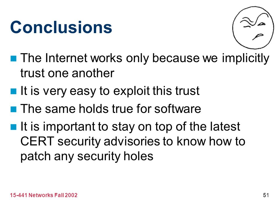Conclusions The Internet works only because we implicitly trust one another. It is very easy to exploit this trust.