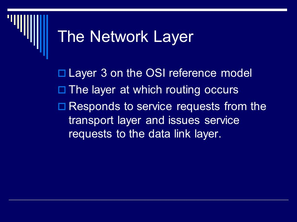 The Network Layer Layer 3 on the OSI reference model