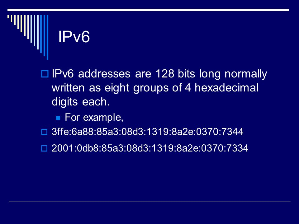 IPv6 IPv6 addresses are 128 bits long normally written as eight groups of 4 hexadecimal digits each.