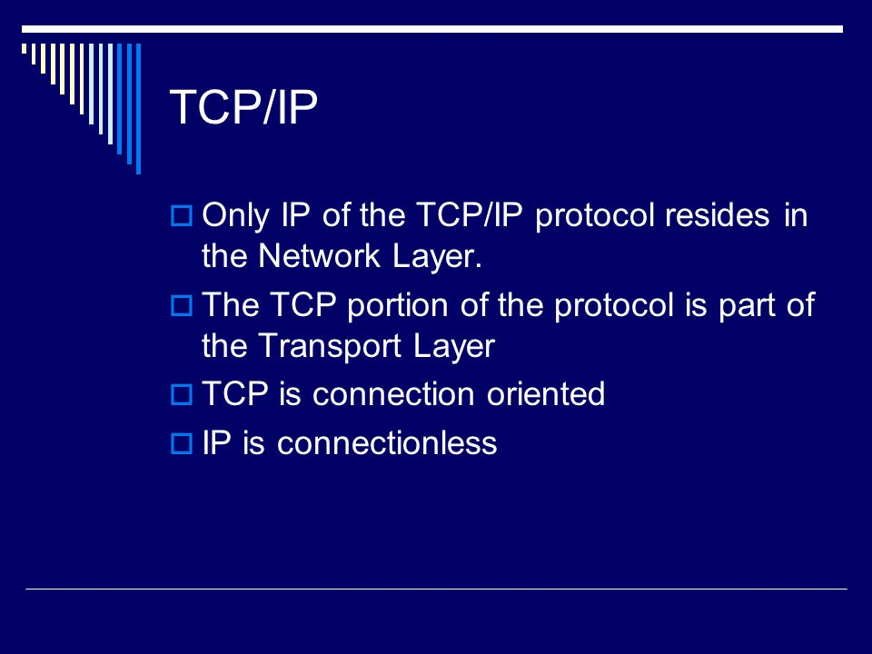 TCP/IP Only IP of the TCP/IP protocol resides in the Network Layer.