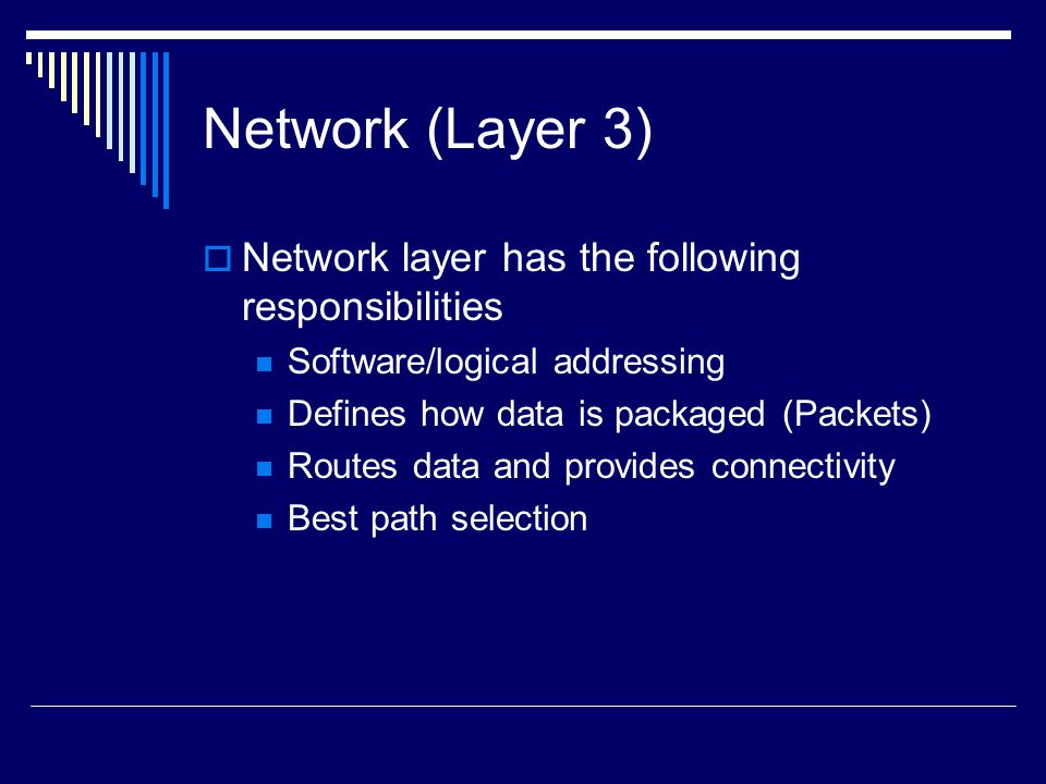 Network (Layer 3) Network layer has the following responsibilities