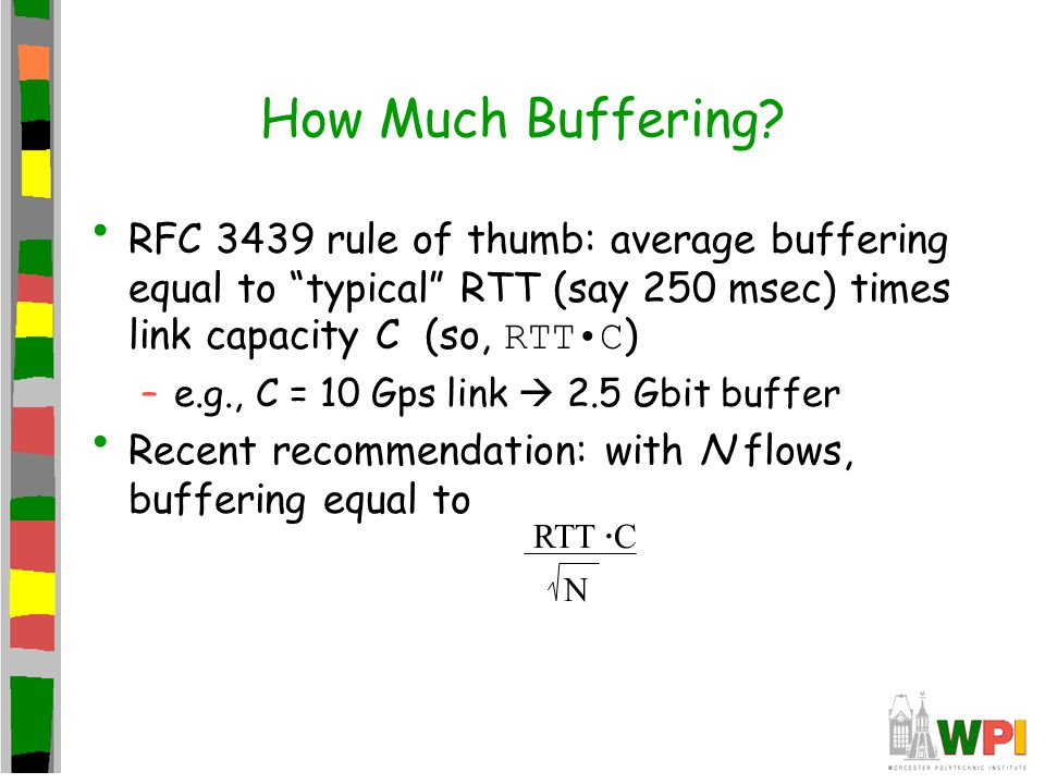 How Much Buffering RFC 3439 rule of thumb: average buffering equal to typical RTT (say 250 msec) times link capacity C (so, RTT•C)