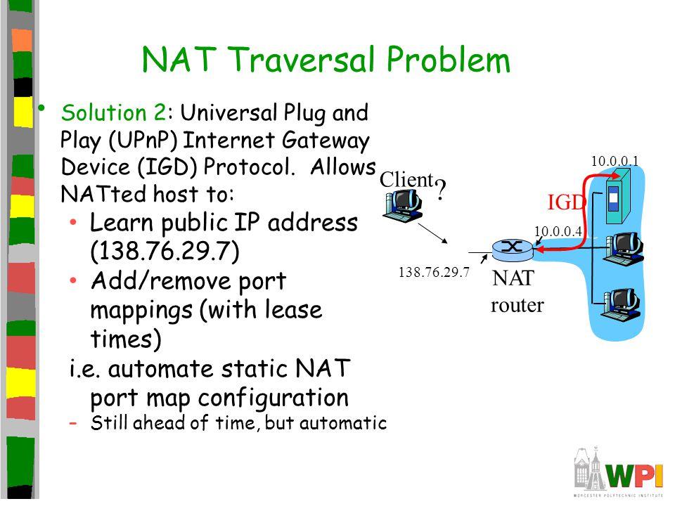 NAT Traversal Problem Learn public IP address (138.76.29.7)