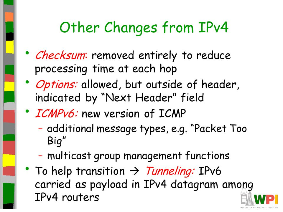 Other Changes from IPv4 Checksum: removed entirely to reduce processing time at each hop.