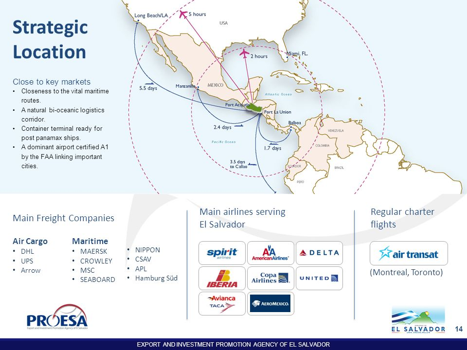 Strategic Location Main airlines serving Main Freight Companies