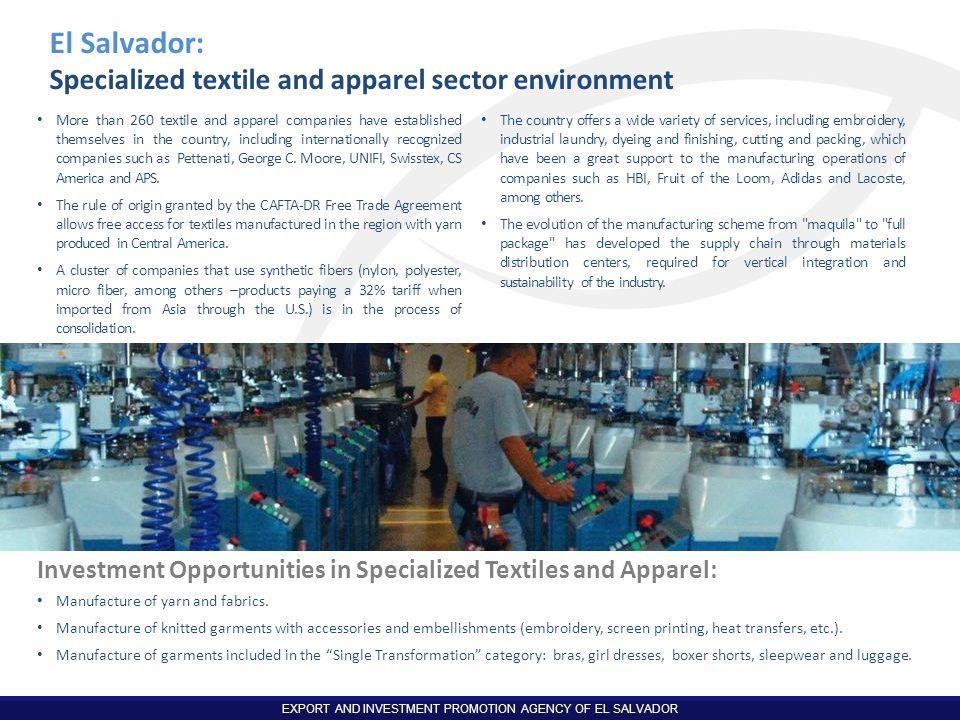 El Salvador: Specialized textile and apparel sector environment