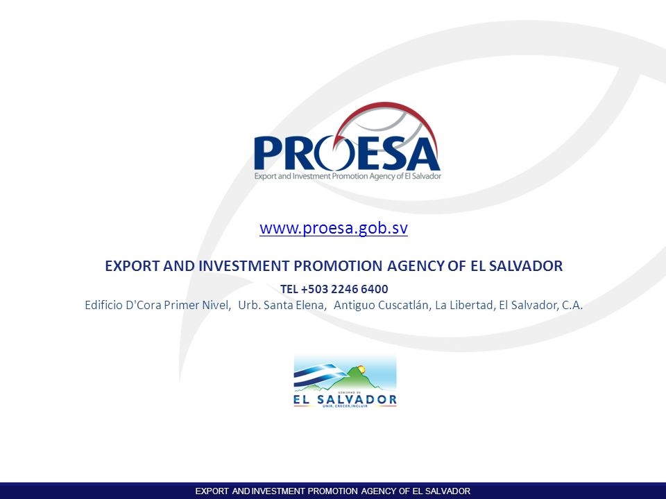 EXPORT AND INVESTMENT PROMOTION AGENCY OF EL SALVADOR