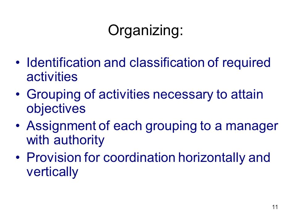 Organizing: Identification and classification of required activities