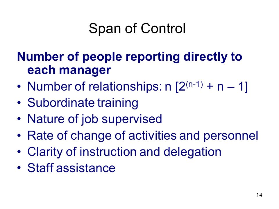 Span of Control Number of people reporting directly to each manager