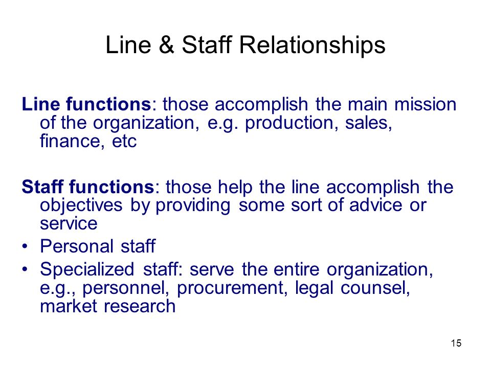 Line & Staff Relationships