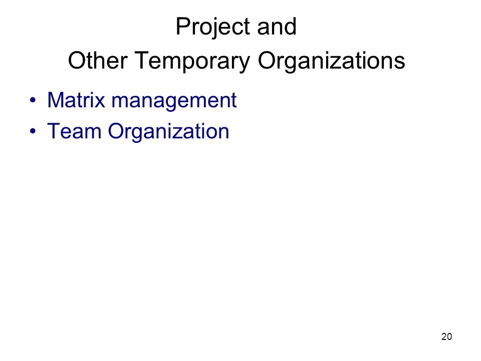 Project and Other Temporary Organizations