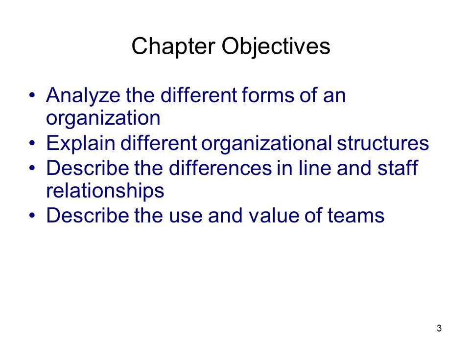 Chapter Objectives Analyze the different forms of an organization