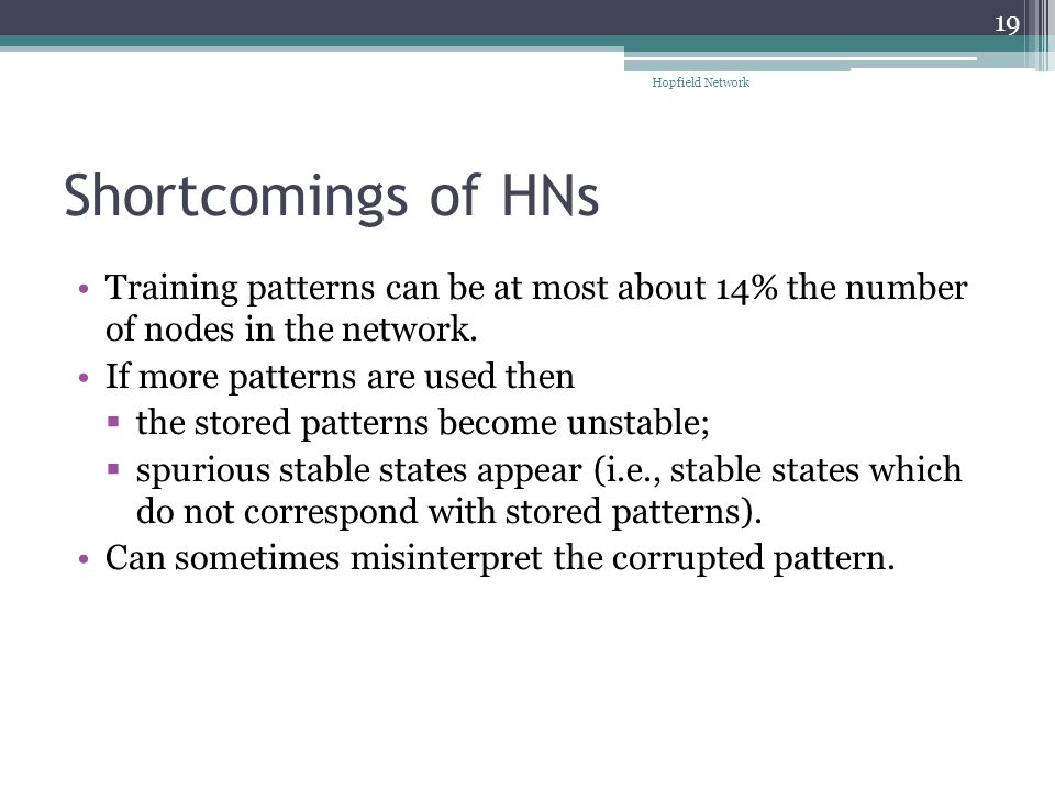 Hopfield Network Shortcomings of HNs. Training patterns can be at most about 14% the number of nodes in the network.