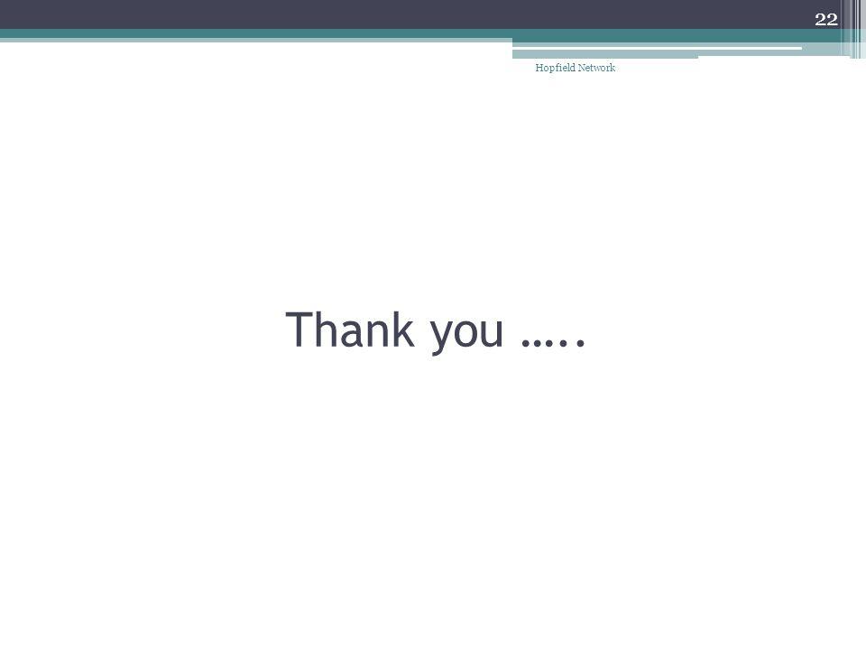 Hopfield Network Thank you …..
