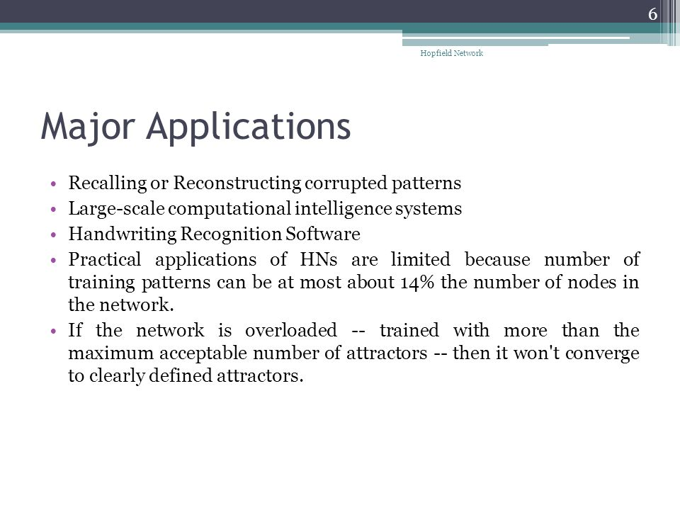 Major Applications Recalling or Reconstructing corrupted patterns