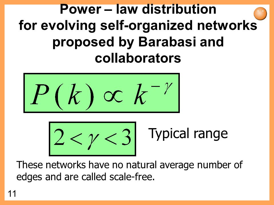 Power – law distribution for evolving self-organized networks proposed by Barabasi and collaborators