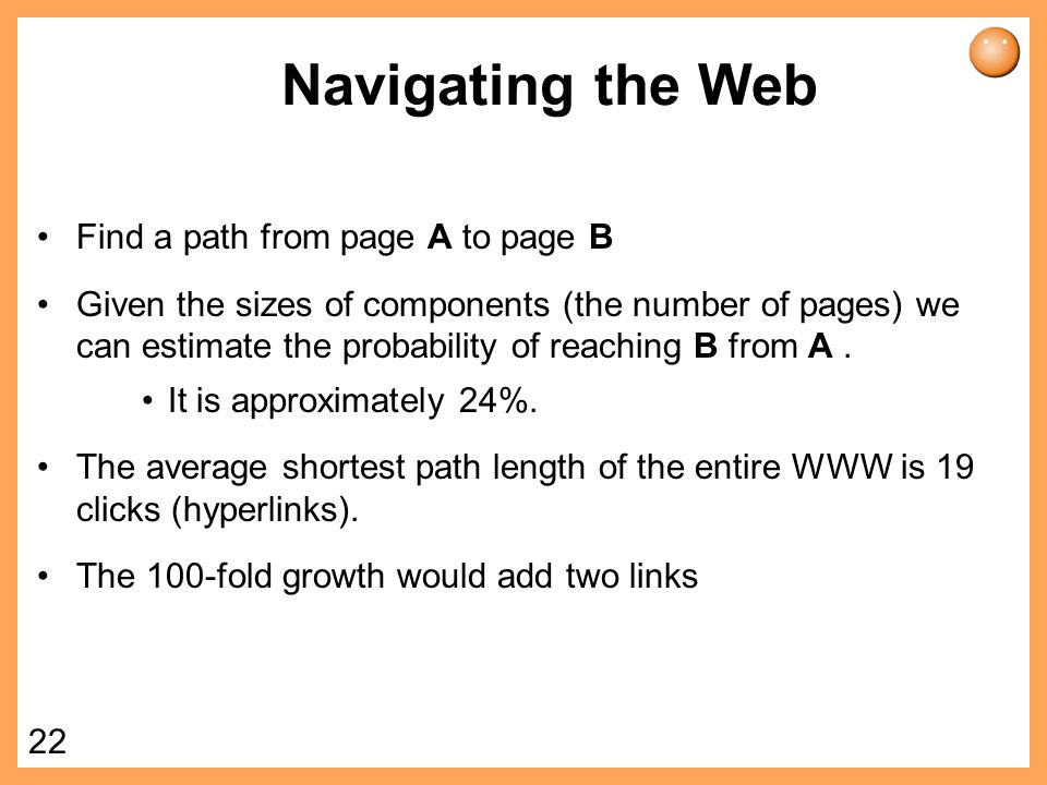 Navigating the Web Find a path from page A to page B