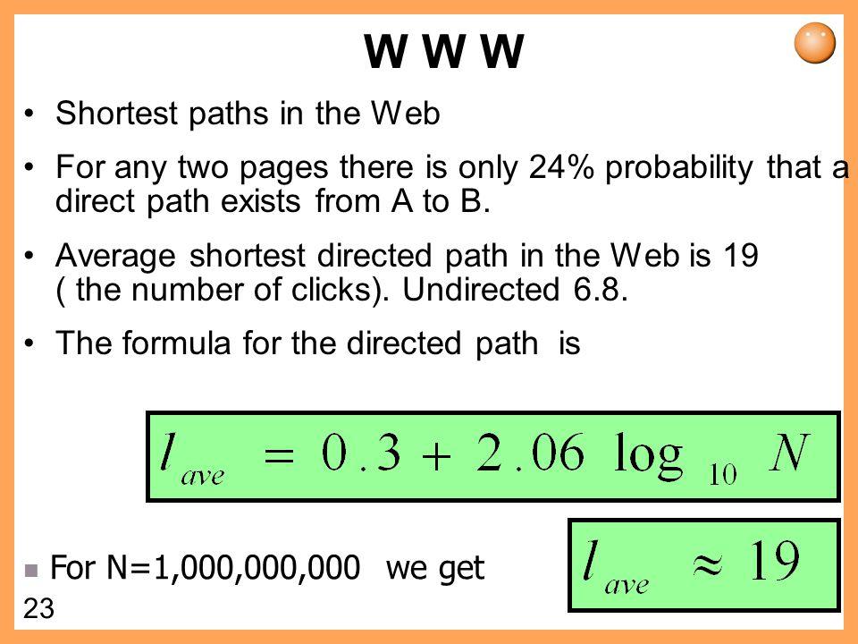 W W W Shortest paths in the Web